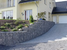 Stepped gabion slope support filled with basaltic lava coarse gravel 80/180 mm